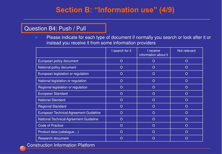 """Section B: """"Information use"""" (4/9)"""