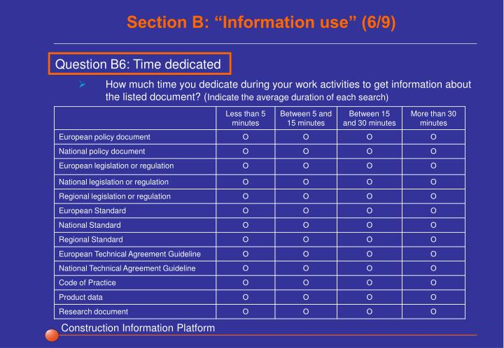 """Section B: """"Information use"""" (6/9)"""