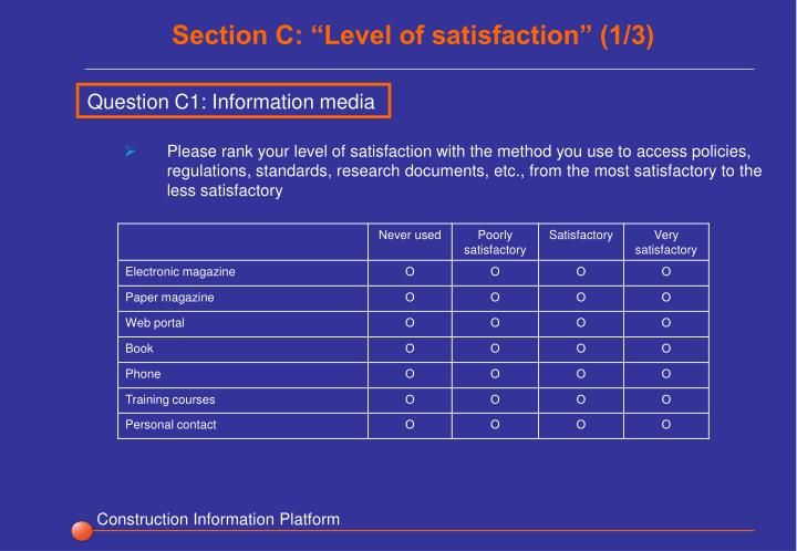 """Section C: """"Level of satisfaction"""" (1/3)"""