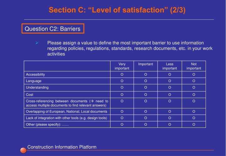 """Section C: """"Level of satisfaction"""" (2/3)"""