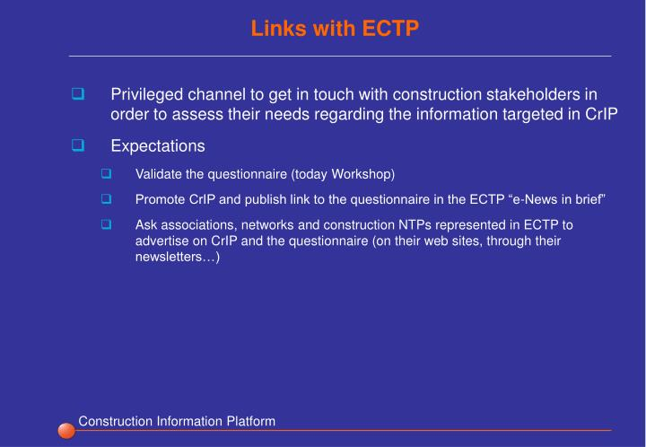 Links with ECTP