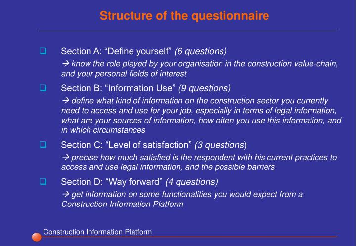 Structure of the questionnaire