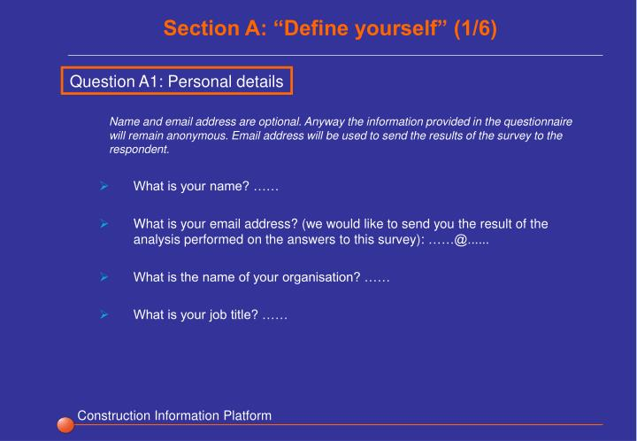 """Section A: """"Define yourself"""" (1/6)"""