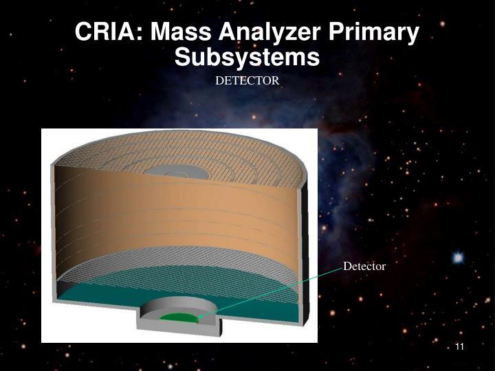 CRIA: Mass Analyzer Primary Subsystems