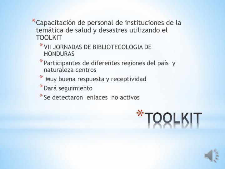Capacitación de personal de instituciones de la temática de salud y desastres utilizando el TOOLKIT