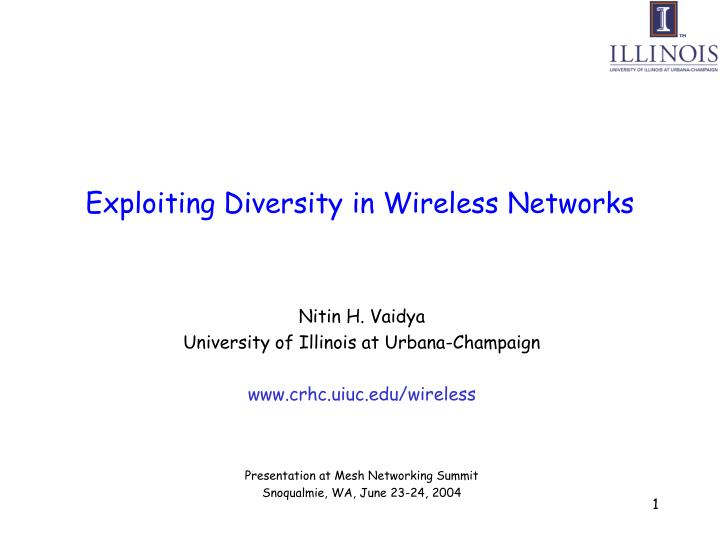 exploiting diversity in wireless networks n.