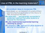 use of pbl in the learning materials