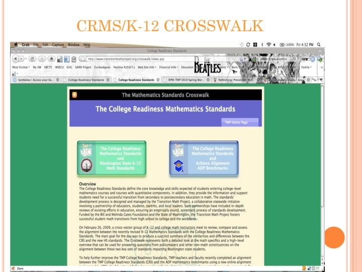 CRMS/K-12 CROSSWALK