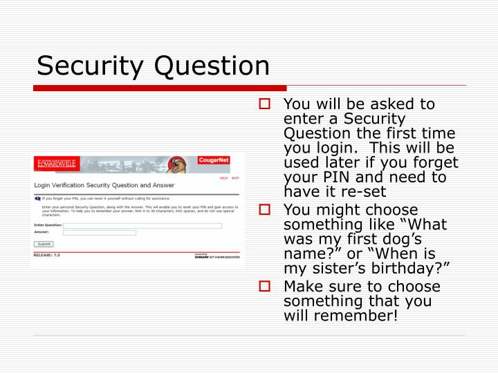 You will be asked to enter a Security Question the first time you login.  This will be used later if you forget your PIN and need to have it re-set