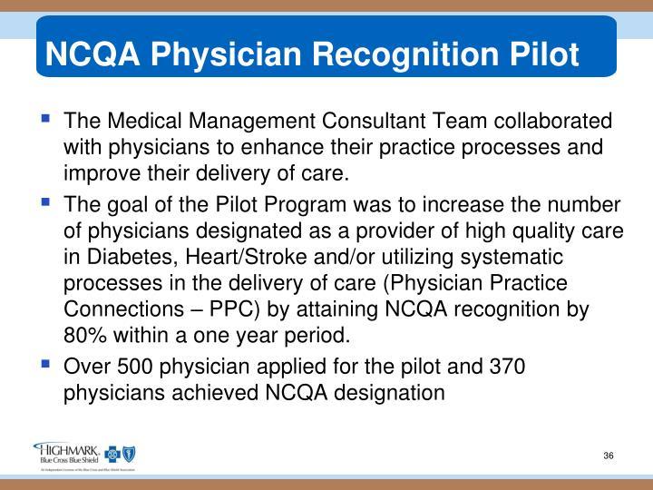 NCQA Physician Recognition Pilot