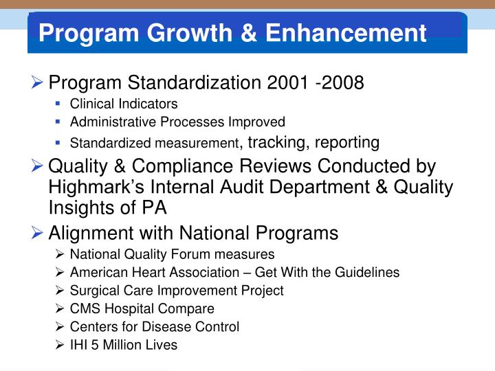 Program Growth & Enhancement
