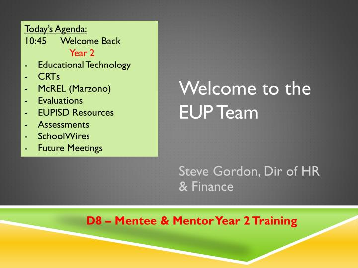 welcome to the eup team