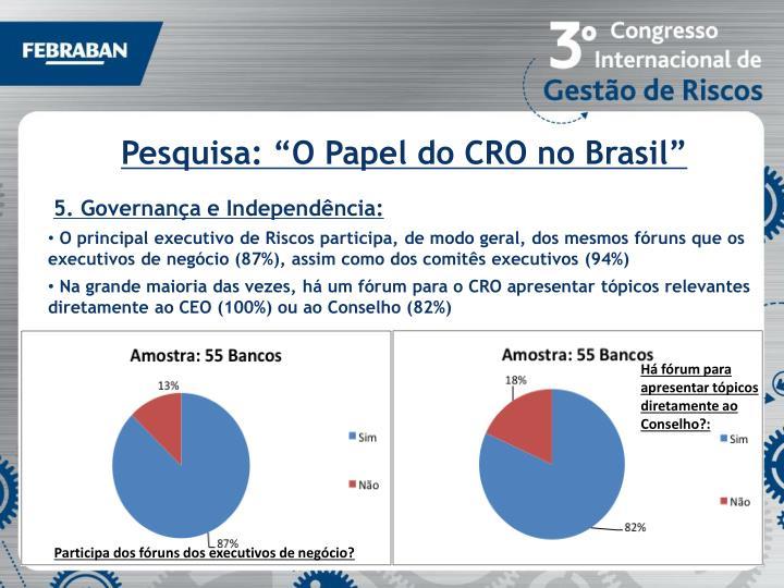 """Pesquisa: """"O Papel do CRO no Brasil"""""""