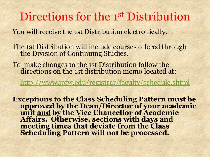 Directions for the 1