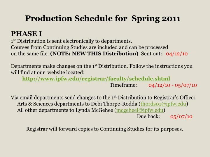 Production Schedule for  Spring 2011