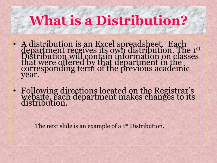 What is a Distribution?
