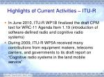 highlights of current activities itu r