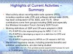 highlights of current activities summary