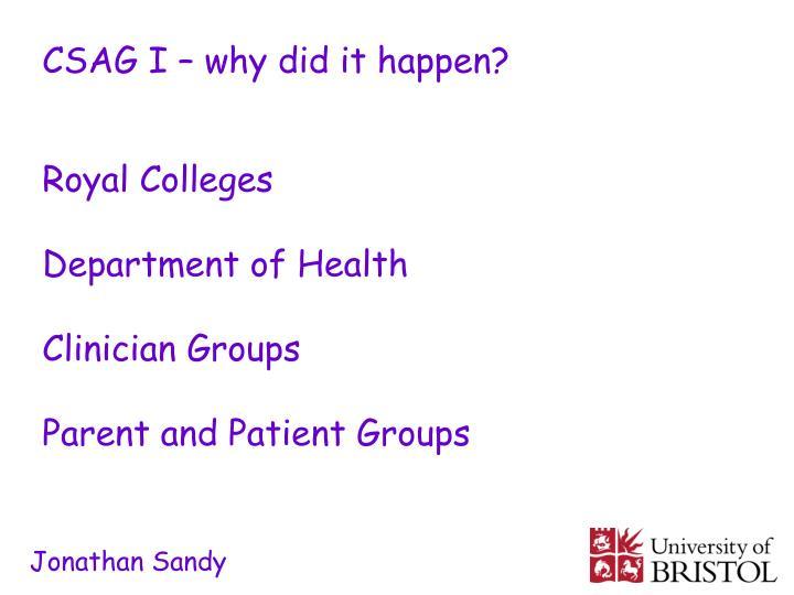CSAG I – why did it happen?
