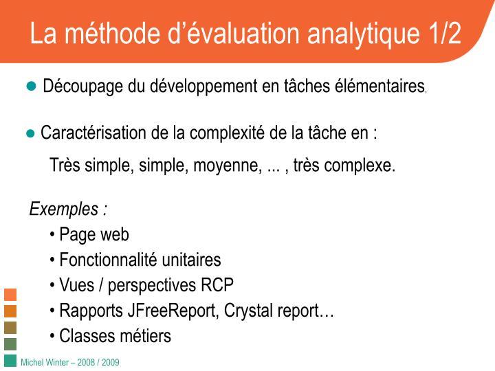 La m thode d valuation analytique 1 2