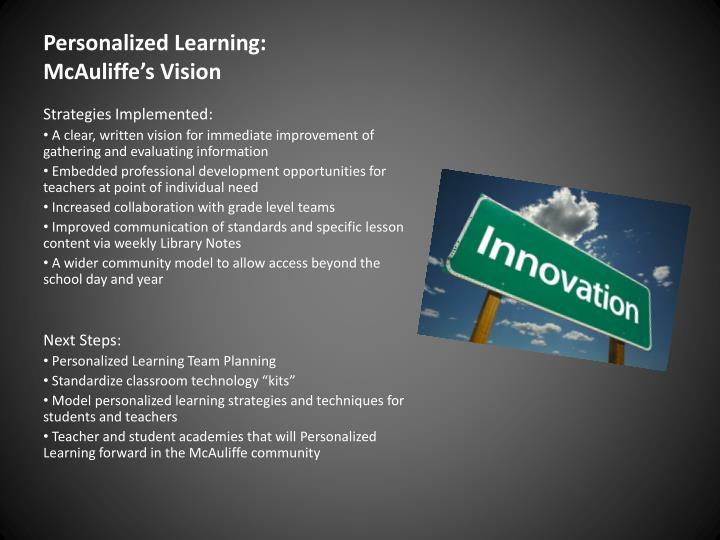 Personalized Learning:  McAuliffe's Vision