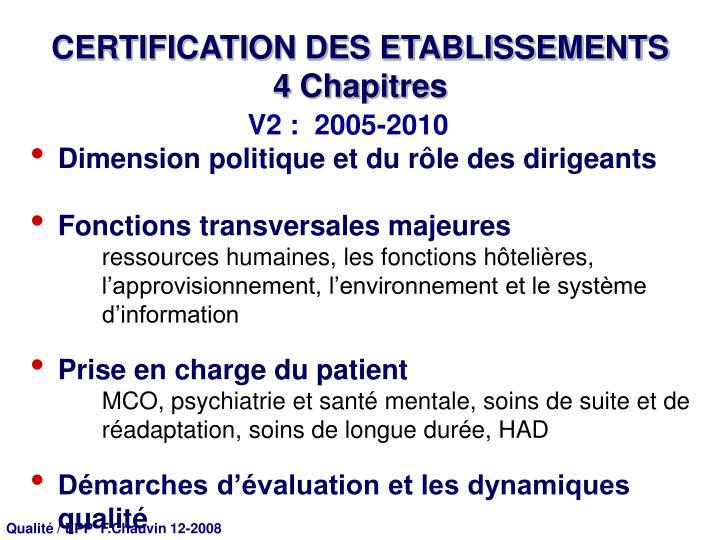 CERTIFICATION DES ETABLISSEMENTS