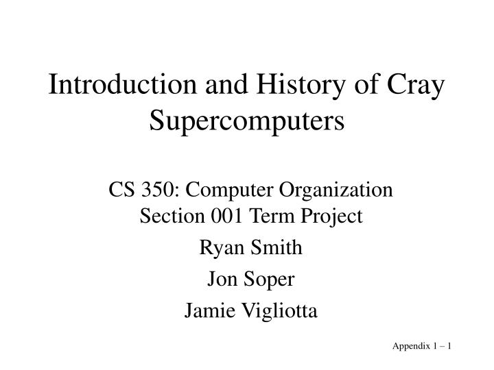 introduction and history of cray supercomputers n.