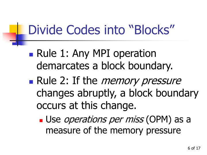 "Divide Codes into ""Blocks"""