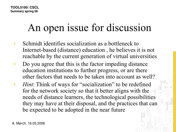 An open issue for discussion