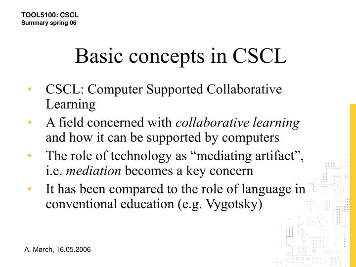 Basic concepts in CSCL