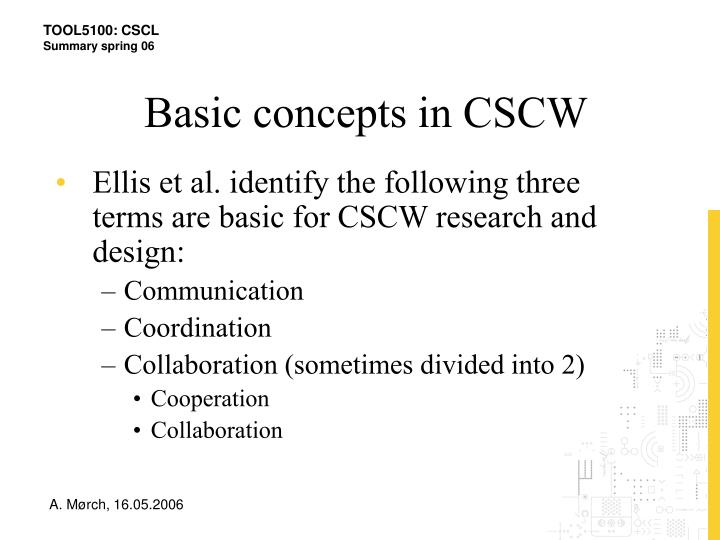 Basic concepts in CSCW