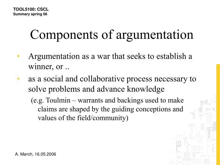 Components of argumentation