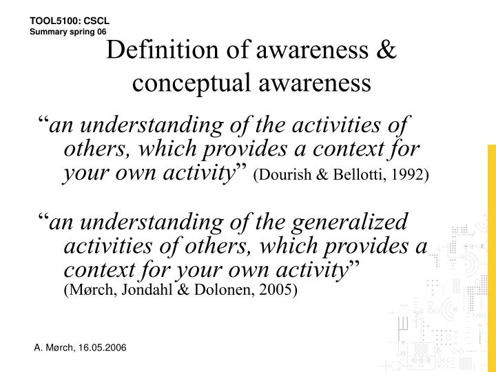 Definition of awareness & conceptual awareness
