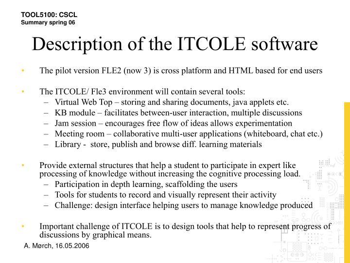 Description of the ITCOLE software