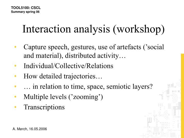 Interaction analysis (workshop)