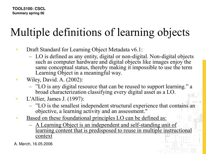 Multiple definitions of learning objects