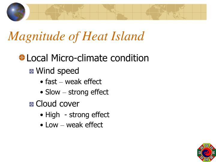 Magnitude of Heat Island