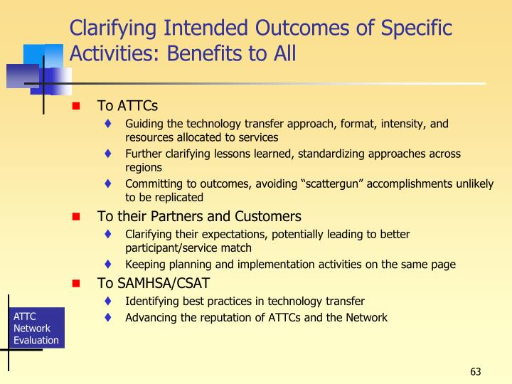 Clarifying Intended Outcomes of Specific Activities: Benefits to All