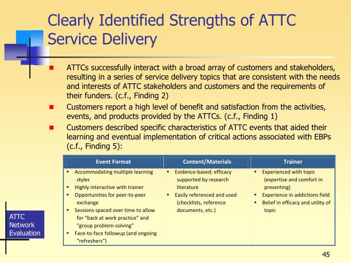 Clearly Identified Strengths of ATTC Service Delivery
