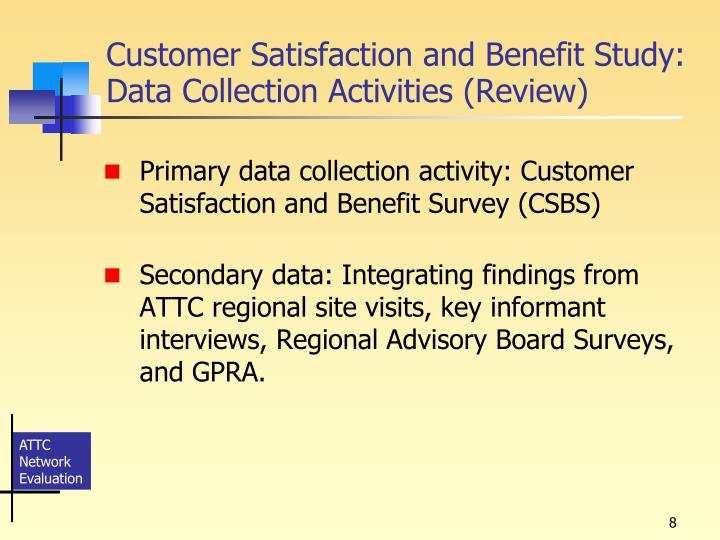 Customer Satisfaction and Benefit Study: Data Collection Activities (Review)