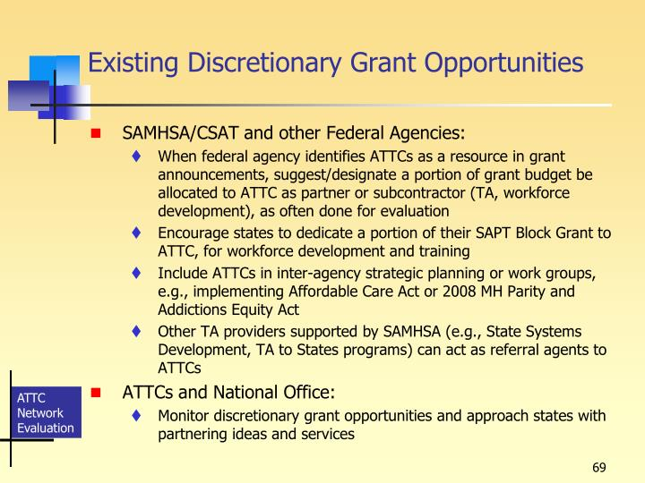 Existing Discretionary Grant Opportunities