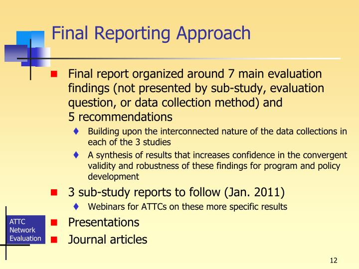 Final Reporting Approach