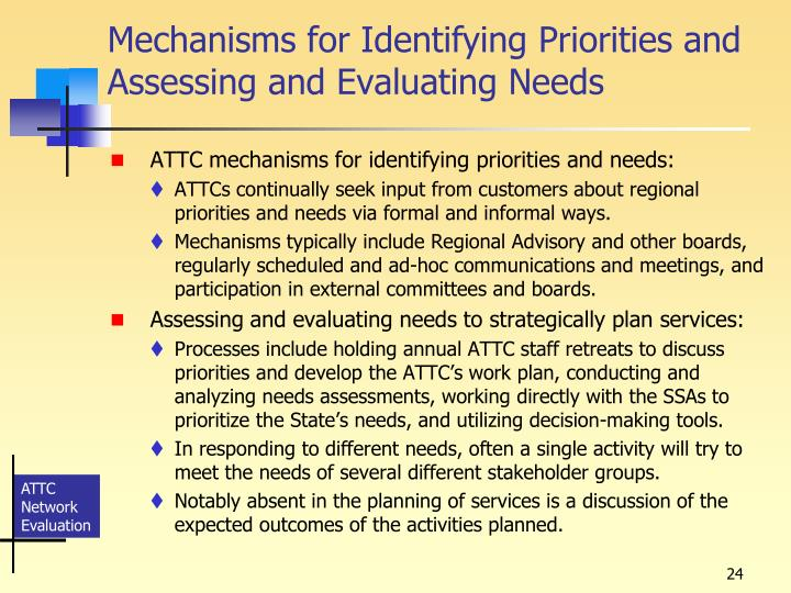 Mechanisms for Identifying Priorities and Assessing and Evaluating Needs