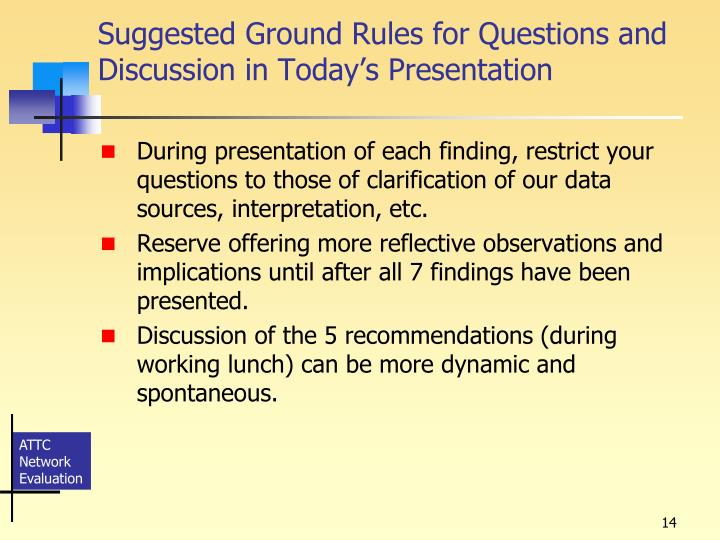 Suggested Ground Rules for Questions and Discussion in Today's Presentation