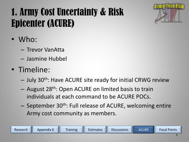 1. Army Cost Uncertainty & Risk Epicenter (ACURE)