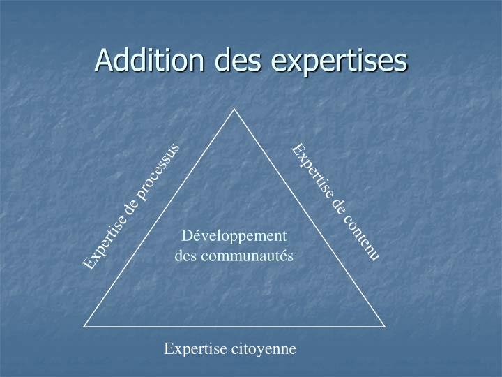 Addition des expertises