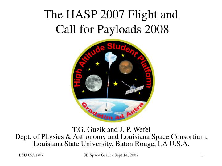 the hasp 2007 flight and call for payloads 2008 n.