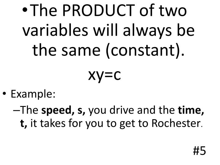 The PRODUCT of two variables will always be the same (constant