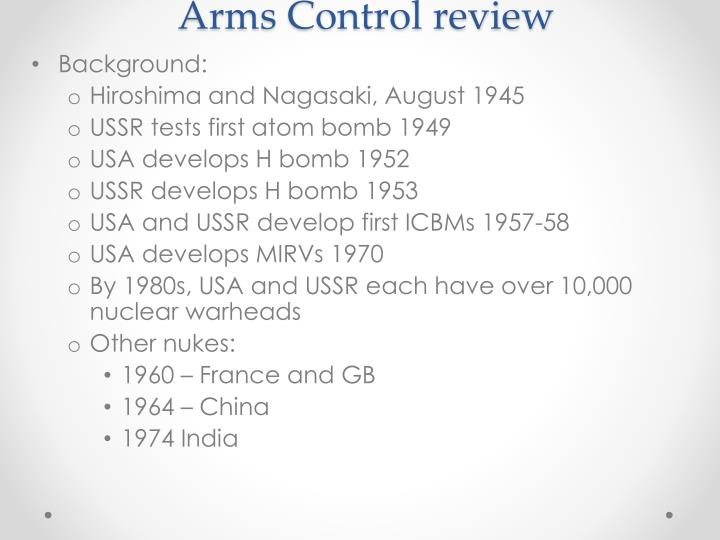 Arms Control review