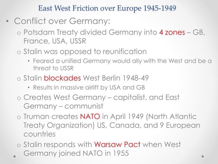 East West Friction over Europe 1945-1949